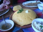 Mamaliga- traditionally served with fried fish, brinza cheese, and sour cream